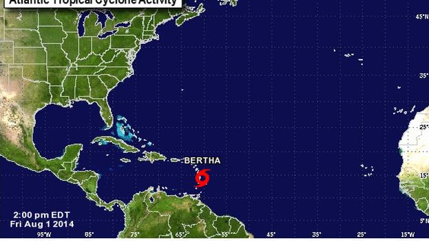 Imagen de la tormenta Bertha desde el satélite. (Centro Nacional de Huracanes)