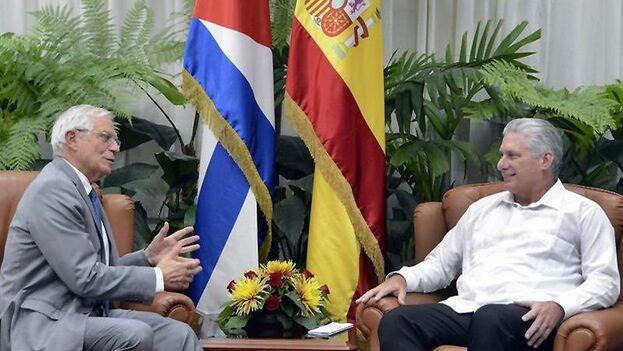 Borrell durante su encuentro con Díaz-Canel este miércoles en La Habana. (EFE)