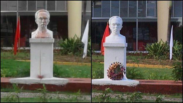 Busto de José Martí a las afueras del Ministerio de Transporte, a la izquierda foto tomada por Enrique Sánchez el 1 de enero y a la derecha una imagen de 14ymedio el 4 de enero. (14ymedio)