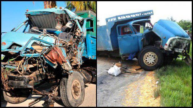 Camiones rusos Kamaz siniestrados este lunes en Sancti Spíritus (izquierda) y Granma (derecha). (ACN/Escambray)