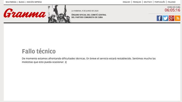 Captura de la página que remitía a la carta de los médicos cubanos y que lleva horas con fallo técnico.