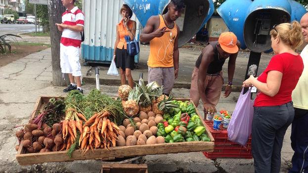 Carretillero en una calle de La Habana. (14ymedio)