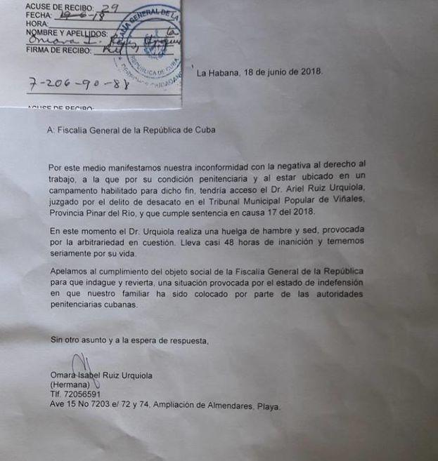 Carta enviada por la familia de Ruiz Urquiola a las autoridades. (CC)