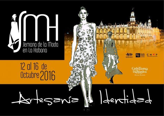 Cartel publicitario de la Semana de la Moda en La Habana, bajo el lema 'Artesanía e identidad'.