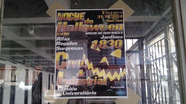 Cartel anunciando la fiesta en la puerta de la facultad de ingeniería civil. (14ymedio)