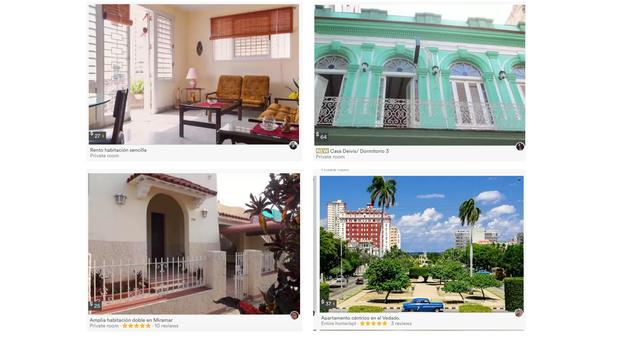 Casas de La Habana que aparecen en el listado de Airbnb
