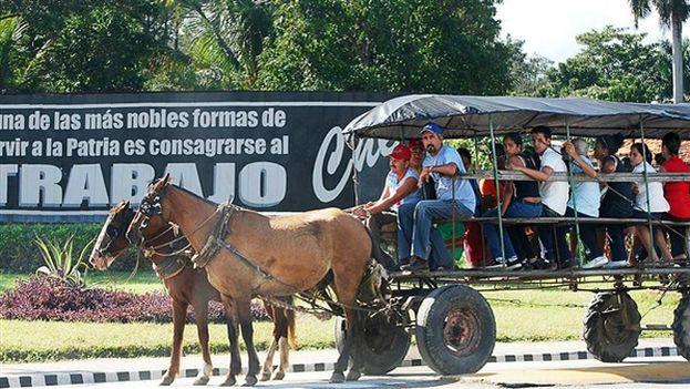 Coche de caballos en Cuba. (Raquel Pérez/BBC Mundo)
