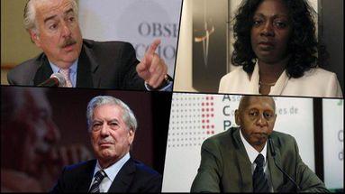 De izquierda a derecha y de arriba a abajo: el expresidente de Colombia Andrés Pastrana, la líder de las Damas de Blanco Berta Soler, el escritor Mario Vargas Llosa y el activista Guillermo Fariñas.