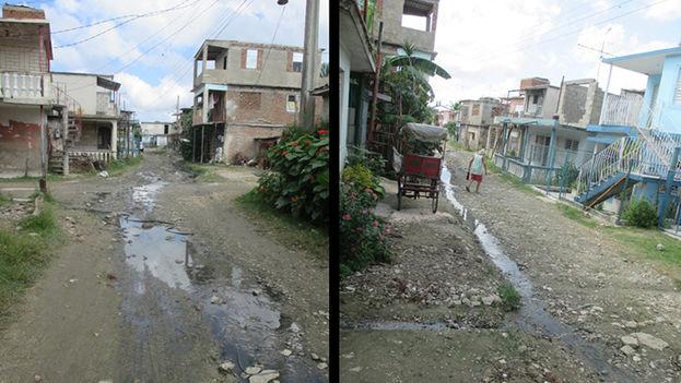 Composición de imágenes de la calle invadida por las aguas albañales. (Fernando Donate)