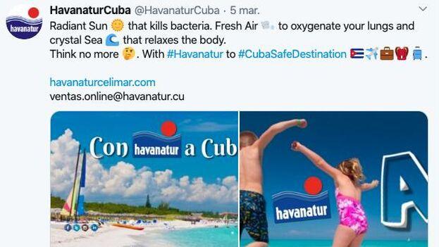 """La propaganda oficial reitera que Cuba es un destino seguro y que """"están dispuestos los protocolos necesarios para evitar la diseminación"""" del coronavirus. (Captura)"""