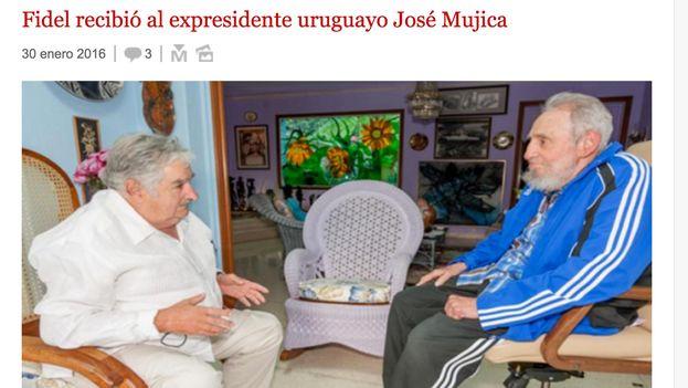 El sitio oficialista Cubadebate reporta el encuentro entre Fidel Castro y José Mujica.