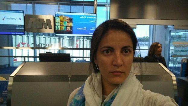 Autorretrato de Rosa María Payá pocas horas antes de coger su vuelo rumbo a Cuba. (@RosaMariaPaya)