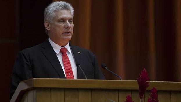 Díaz-Canel durante su primer discurso como presidente de Cuba. (Captura)
