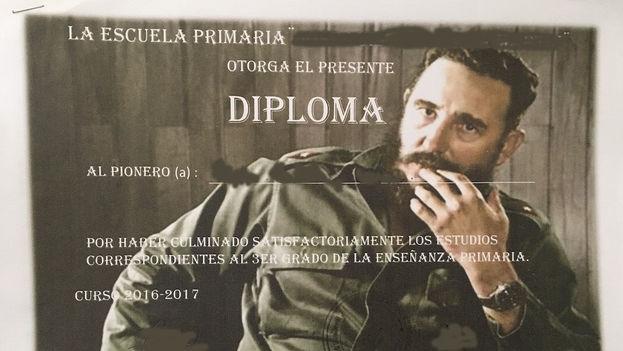 Diploma de fin de curso en una escuela habanera. (14ymedio)