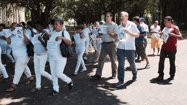 Diputado chileno Felipe Kast marchando junto Antonio Rodiles en La Habana. (14ymedio)