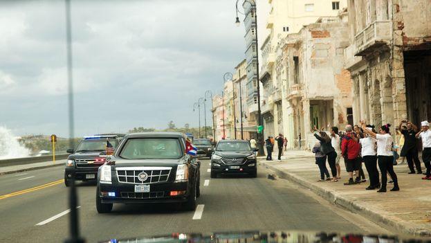 La caravana del presidente de EE UU, Barack Obama, este lunes en La Habana. (Casa Blanca)
