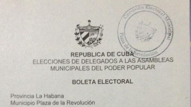 Boleta de votación en las Elecciones de las Asambleas Municipales del Poder Popular (Foto: Yoani Sánchez)