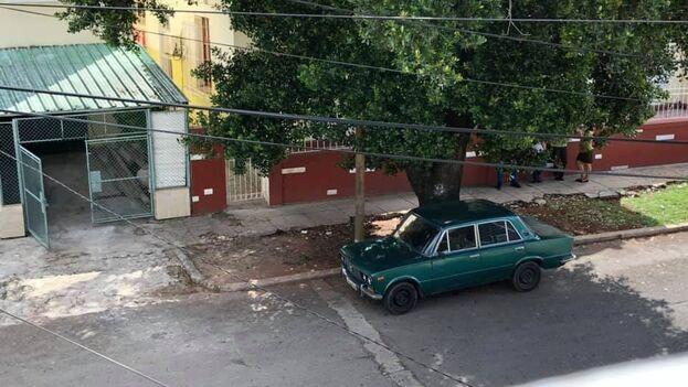Escondidos bajo un árbol, los policias del operativo contra la periodista Mónica Baró apenas eran visibles desde su ventana. (Facebook)