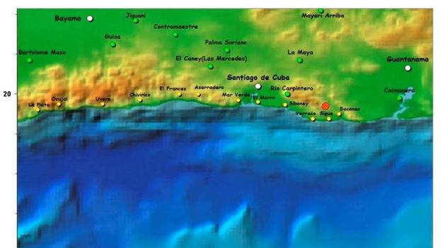 El movimiento telúrico tuvo su epicentro a 36 kilómetros de profundidad. (Red de Estaciones del Servicio Sismológico Nacional Cubano)