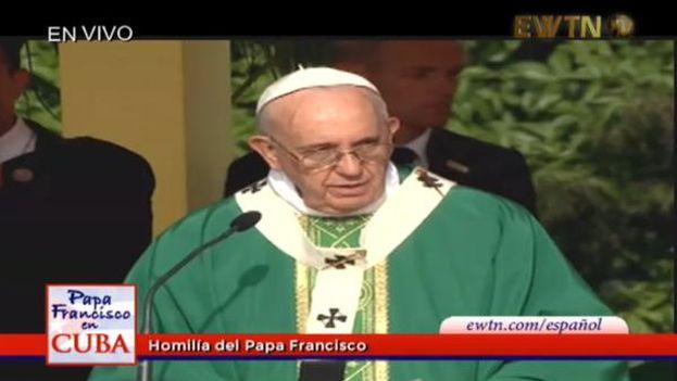 El papa Francisco durante la misa en la Plaza de la Revolución de La Habana (CC(