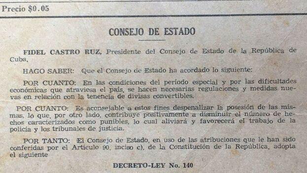 Gaceta Oficial de 1993 en la que se anunció la despenalización de monedas convertibles. (14ymedio)