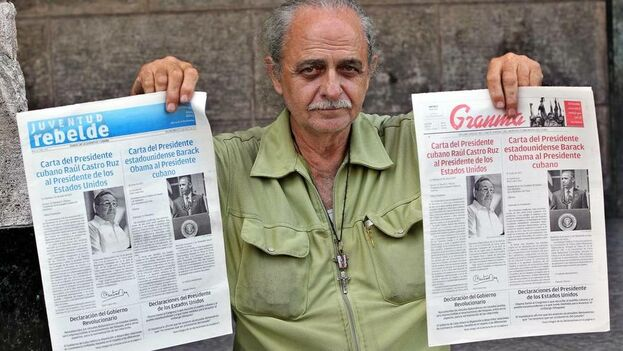 Un cubano muestra las ediciones de la prensa estatal Granma y Juventud Rebelde. (Archivo EFE)