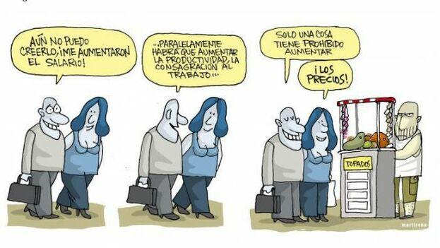 El diario oficial 'Granma' publicó una viñeta que muestra a dos sonrientes empleados estatales que comentan los beneficios del nuevo sueldo. (Granma)