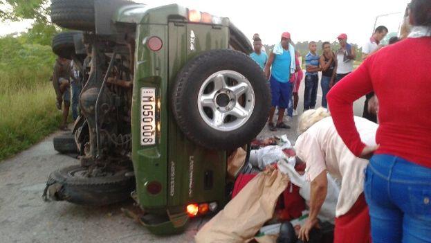 Imagen del accidente en el kilómetro 134 de la Autopista Nacional