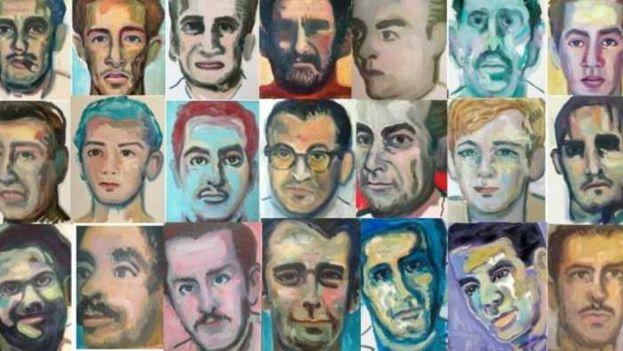Juan Abreu expone en la Eurocámara los rostros de fusilados en Cuba. (Redes)
