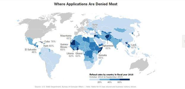 Lugares donde las peticiones de visado son más rechazadas (NYT)