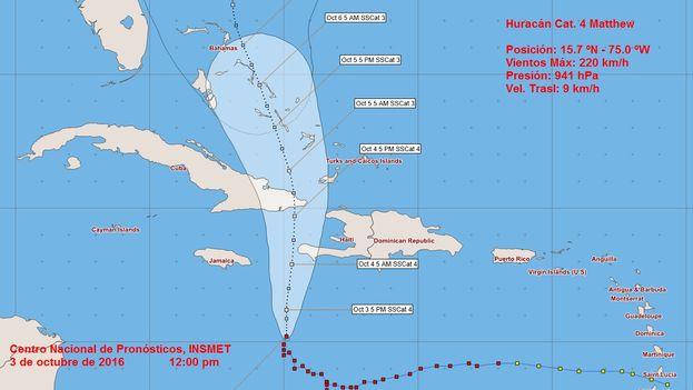 Matthew está ganando en estructura e intensidad mientras se desplaza hacia el norte a razón de 7 km por hora. (Instituto de Meteorología de Cuba)
