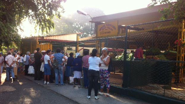 A las afueras del Mercado de la Calle Tulipán, muchos vecinos esperaban su reapertura esta mañana (Foto Luz Escobar)