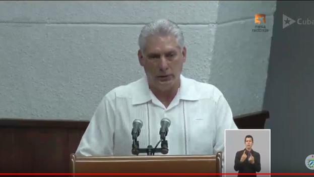 El presidente Miguel Díaz-Canel durante su intervención ante el Consejo de Ministros este jueves. (Captura de pantalla)