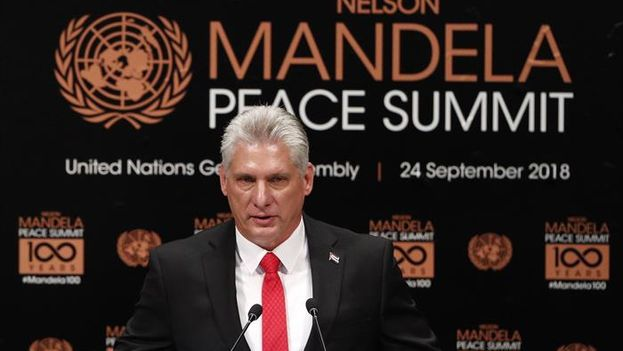 Miguel Díaz-Canel, interviene durante la cumbre de Naciones Unidas sobre la paz, dedicada a la memoria del expresidente sudafricano Nelson Mandela. (EFE/Justin Lane)