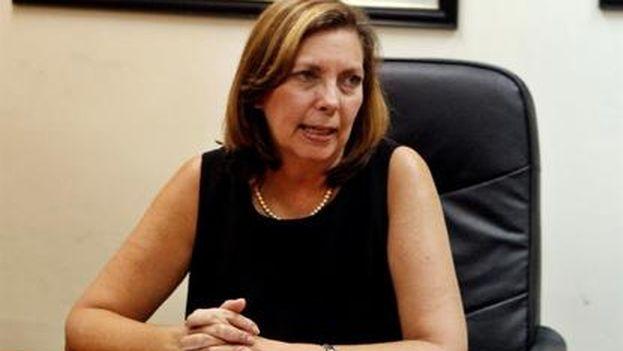 La directora general para Estados Unidos del Ministerio de Relaciones Exteriores de Cuba, Josefina Vidal, en su conferencia de prensa de este miércoles. (EFE/Ernesto Mastrascusa)