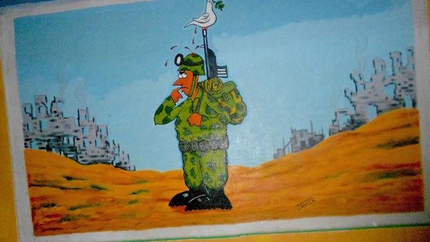 Nuevo mural de caricaturas en la terminal intermunicipal de la ciudad de Santa Clara. (14ymedio)