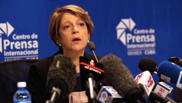 La funcionaria de la ONU, María Grazia Giammarinaro, realizó una rueda de prensa el viernes con los medios nacionales e internacionales en el suelo cubano. (EFE)