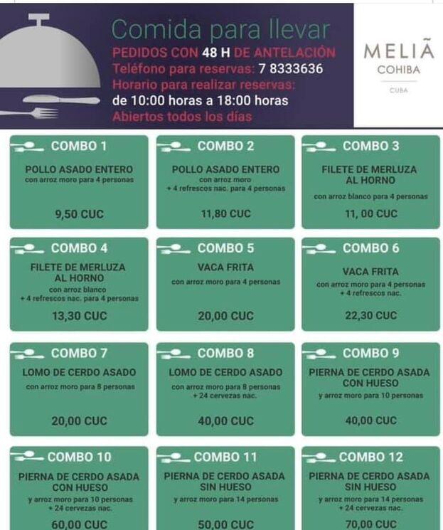 Oferta a domicilio del hotel Meliá Cohiba.