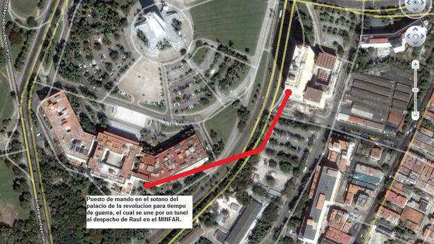 Túnel que conecta el Palacio de la Revolución con el despacho de Raúl Castro en el Minfar. (Llamado32' Blog)
