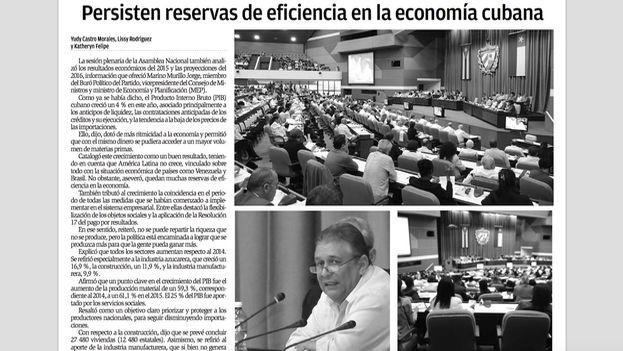 """""""Persisten reservas de eficiencias en la economía cubana"""", 'Granma', 30 de diciembre de 2015"""