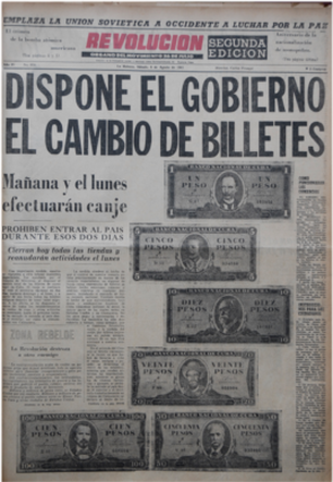 Portada anunciando el cambio de moneda en 1961