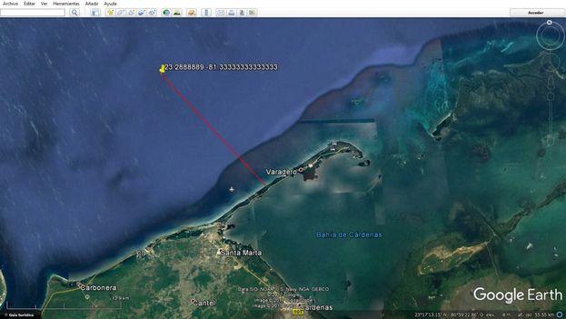 Punto del hundimiento de la grúa en las costas de Varadero. (Google)
