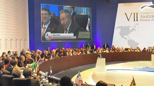 Raúl Castro durante su discurso en la Cumbre de las Américas
