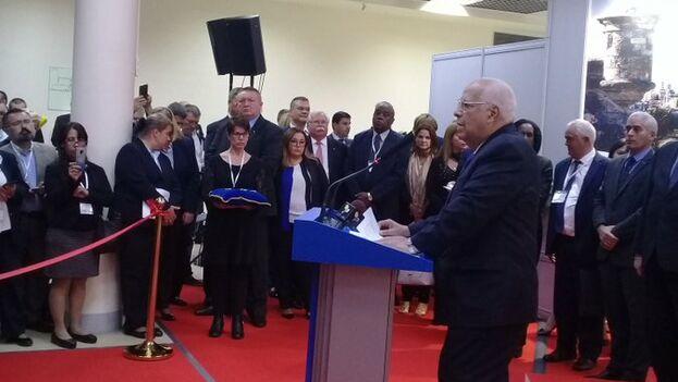 Ricardo Cabrisas, vicepresidente de los Consejos d Estados y de Ministros, inauguró la primera exposición Nacional Cuba Rusia.