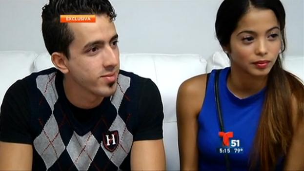 Los bailarines Ricardo Gil, Yaimara Naranjo durante la entrevista de Telemundo 51.
