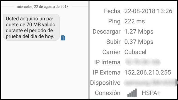 Un SMS recibido después de contratar el paquete de navegación en internet y una prueba de velocidad de la conexión. (14ymedio)