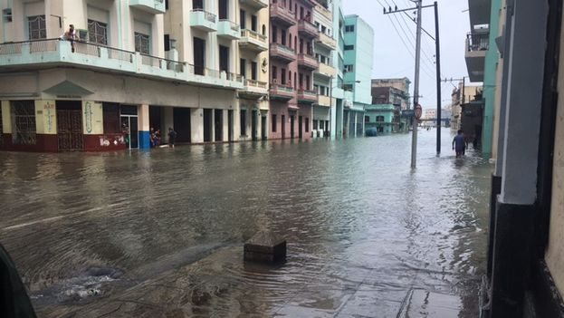 La calle San Lázaro en Centro Habana amaneció este domingo inundada. (14ymedio)