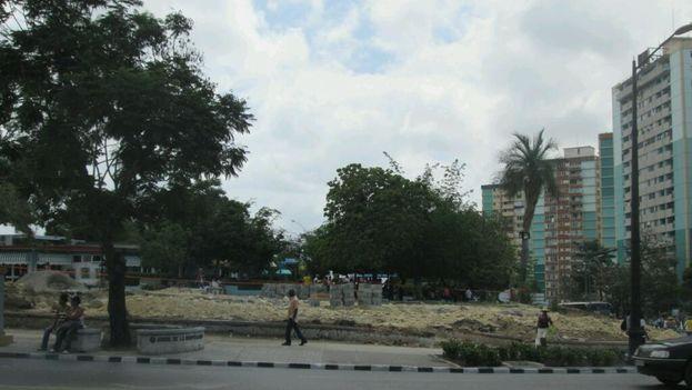Las obras para la construcción de la fuente de los cien chorros en Santiago de Cuba. (Yosmany Mayeta Labrada)