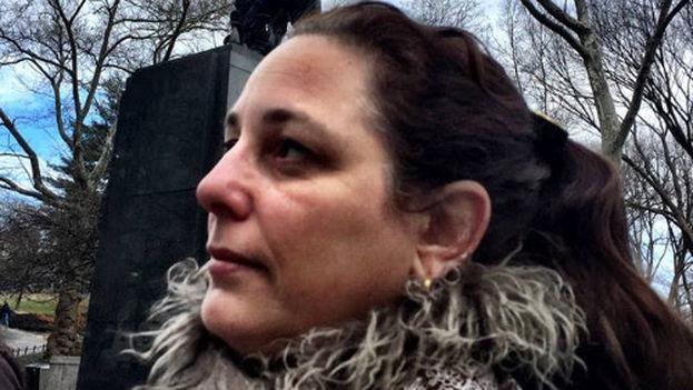 Tania Bruguera durante la conferencia de prensa de este viernes en el Central Park de Nueva York. (INSTAR)