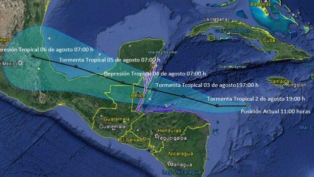 Tormenta tropical Earl en el Caribe (CONAGUA de Mexico)